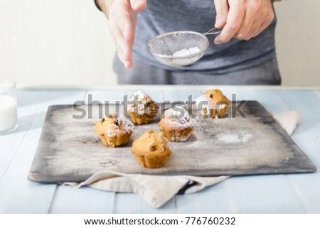 Eigengemaakt vers muffins suiker poeder Stockfoto © marylooo