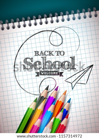 Back to School Sale Design with Graphite Pencil, Eraser and Sticky Notes on Yellow Background. Vecto Stock photo © articular