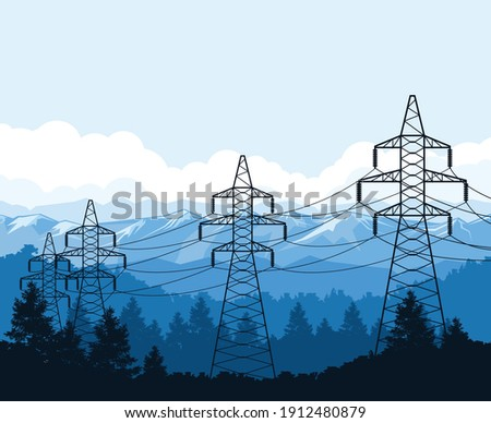 Torres montanhas alta tensão poder linha fonte de alimentação Foto stock © gomixer