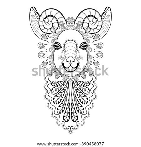 Zentangle goat head. Hand drawn decorative vector illustration for coloring Stock photo © Natalia_1947