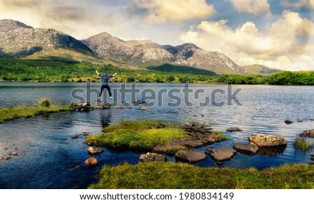 Landschap meer Ierland bergen hemel Blauw Stockfoto © borisb17