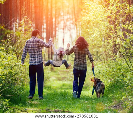 Parents with Children and Pet in Summer Forest Stock photo © robuart
