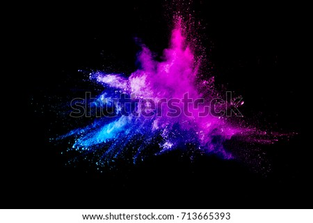 Abstract multicolored powder or dust splash on a black background. Stock photo © artjazz