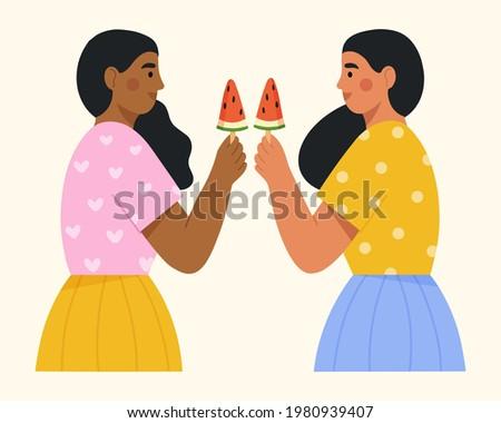 Diverso donne anguria femminile amici Foto d'archivio © GVS