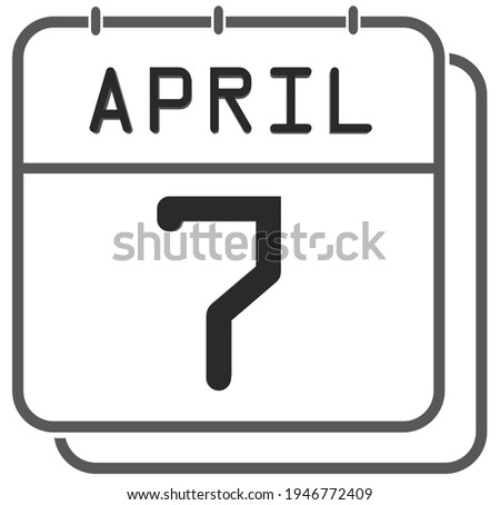 Simple black calendar icon with 7 april date isolated on white Stock photo © evgeny89