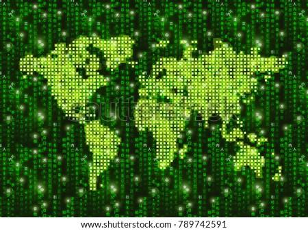 Mappa del mondo verde matrice simboli cyberspazio Foto d'archivio © evgeny89