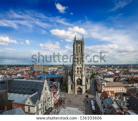 Saint Bavo Cathedral and Sint-Baafsplein, view from Belfry. Ghen Stock photo © dmitry_rukhlenko
