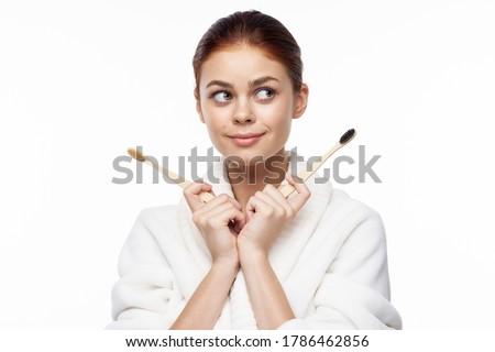 Bambus Zahnbürste grünen zunehmend Frau Stock foto © galitskaya