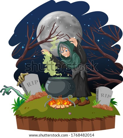 Wizard or witch with magic pot and tomb on dark forest isolated  Stock photo © bluering