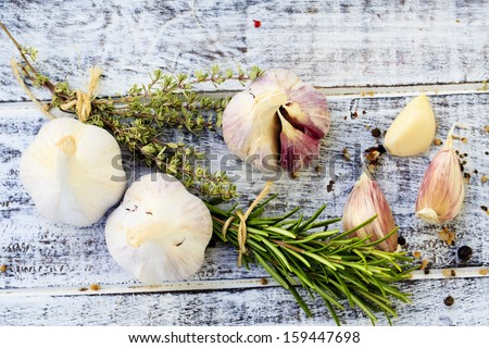 Tomatoes, thyme, garlic and spices Stock photo © furmanphoto