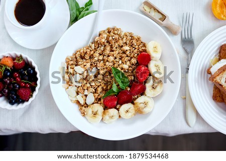 Fresh and bright continental breakfast table, abundance healthy meal variety Stock photo © Illia