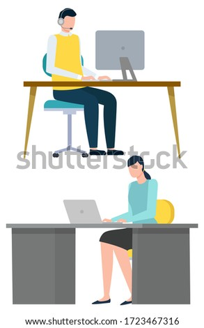 People Working with PC, Monitor of Gadget Vector Stock photo © robuart