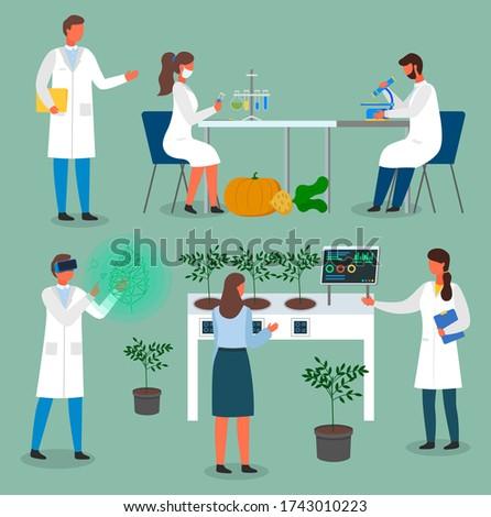 Ingesteld laboratorium werknemers wetenschappers groeiend Stockfoto © robuart
