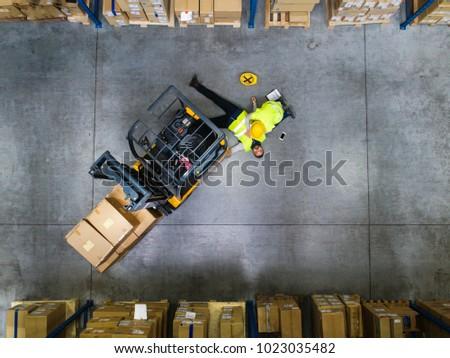 Raktár baleset felső kilátás ázsiai menedzser Stock fotó © vichie81