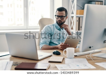 Businessman thinking about market Stock photo © ra2studio