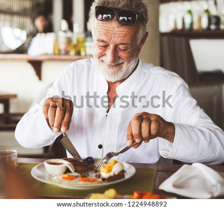 idős · férfi · eszik · freskó · ebéd · bor - stock fotó © photography33