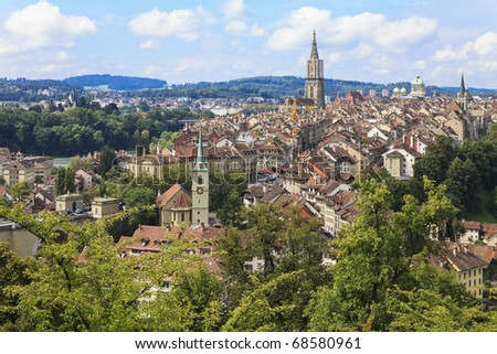 Berne, Switzerland. Beautiful old town. Prominent cathedral towe Stock photo © dacasdo