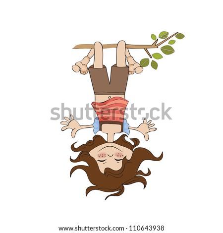 Giovane ragazza piedi testa impiccagione giù ragazza Foto d'archivio © balasoiu