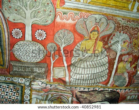 buddah and painting in the famous rock tempel of dambullah sri stock photo © meinzahn