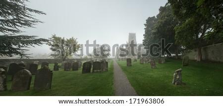 霧の · 墓地 · 墓地 · 死んだ · カラス · カラス - ストックフォト © jayfish