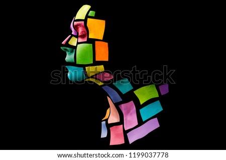 Colorful picture of young lady Stock photo © konradbak