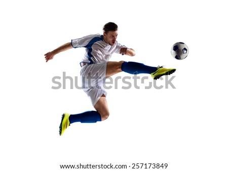 encajar · muscular · hombre · balón · de · fútbol · blanco · fútbol - foto stock © elnur