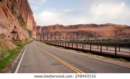 Utah Outback Highway 128 Colorado River Bike Path Stock photo © cboswell