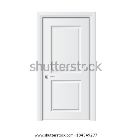 white door isolated on white photo realistic vector illustration stock photo © netkov1