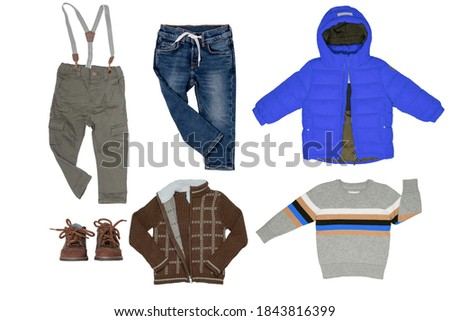 Beautiful background of jeans, jackets and shoes with crystals Stock photo © alekleks