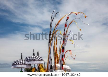 Traditioneel ceremonieel parasols vlaggen strand ceremonie Stockfoto © meinzahn