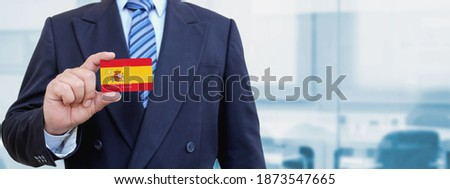 Credit card with Spain flag background for bank, presentations and business. Isolated on white Stock photo © tkacchuk