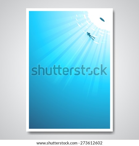 Scuba Diving - poster, brochure cover template Stock photo © Decorwithme