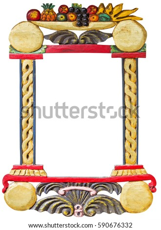 Old wooden hand made frame with fruits motif isolated on white b Stock photo © smuki