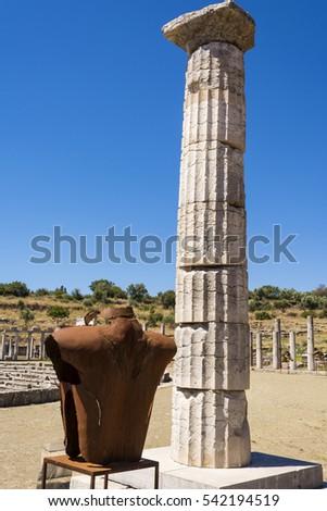 Metalen standbeeld oude Grieks stad hemel Stockfoto © ankarb