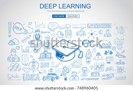 Deep Learning concept with Business Doodle design style: online  Stock photo © DavidArts