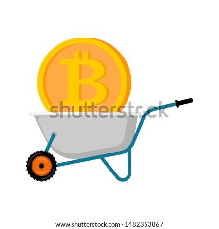 Kruiwagen bitcoin tuin virtueel cash business Stockfoto © popaukropa