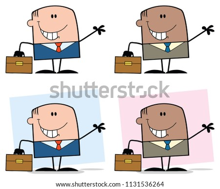 set of emotions for african american business man waving hand go stock photo © nikodzhi
