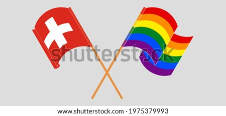 Switzerland LGBT flag. Swiss Symbol of tolerant. Gay sign rainbo Stock photo © popaukropa