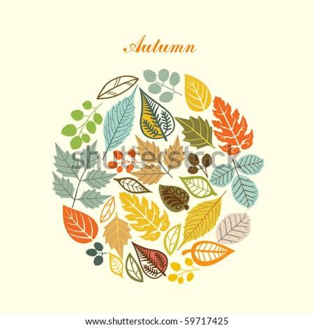 Abstract Round Leaves Autumn Tree Vector Art Illustration Design Stock photo © svvell