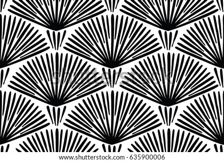 seamless ethnic and tribal pattern hand drawn ornamental stripes black and white print for your te stock photo © samolevsky