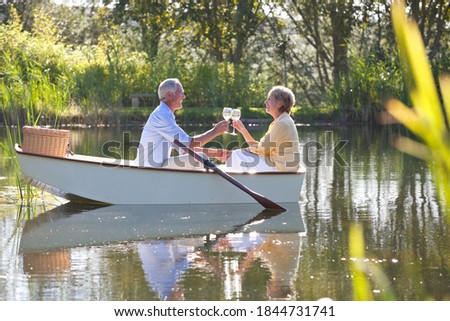 Senior Adult Couple Toasting Wine Glasses Surrounded By Moving B Stock photo © feverpitch
