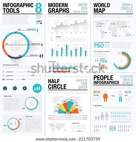 Ingesteld flyer brochure infographics grafiek element Stockfoto © Linetale