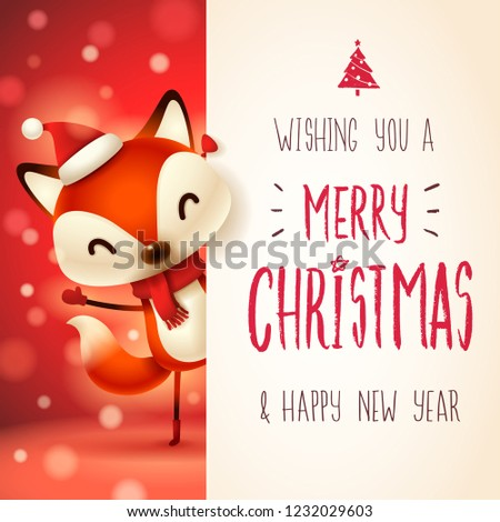 Сток-фото: Cute · мало · Fox · большой · веселый · Рождества
