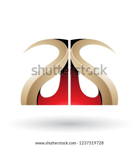 Red and Beige Glossy Curvy Embossed Letter A Vector Illustration Stock photo © cidepix