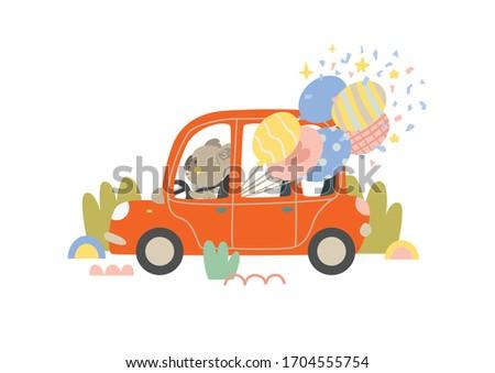 Erkek sürücü kırmızı araba balonlar örnek Stok fotoğraf © colematt