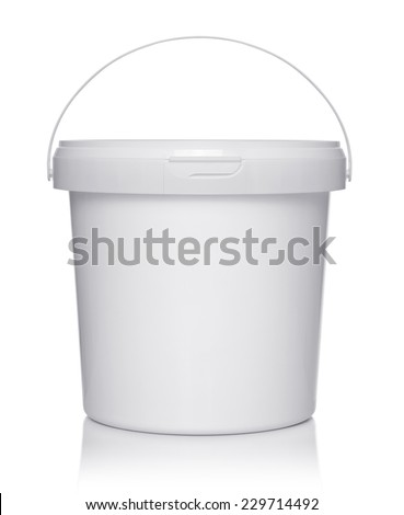045dd18405b2e0 Green plastic bucket with a black handle isolated on white background.  Vector cartoon close-