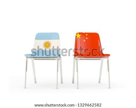 Due sedie bandiere Cina Argentina isolato Foto d'archivio © MikhailMishchenko