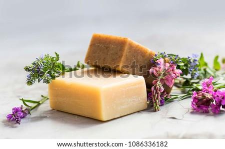 Bar naturale aromaterapia sapone fresche lavanda Foto d'archivio © joannawnuk