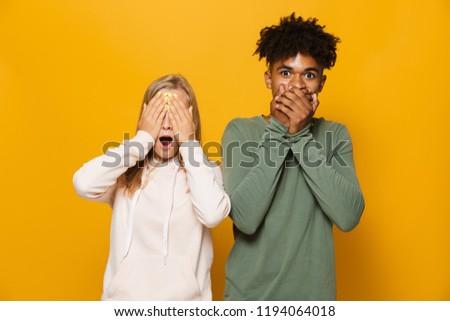Fotoğraf heyecanlı çift adam kadın diş Stok fotoğraf © deandrobot