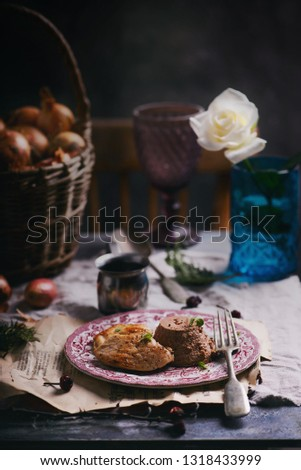 Chicken liver flan with chicken breast and demiglas sauce.selective focus Stock photo © zoryanchik